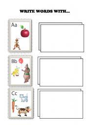 English Worksheets: WRITING ABC WORDS