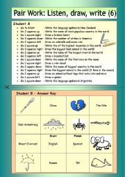 English Worksheets: Pair Work: Listen, draw, write (6)