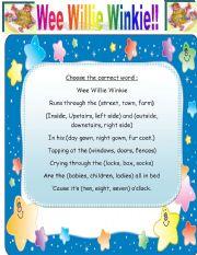 English Worksheets: Wee Willie Winkie