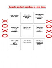 english worksheets noun clause tic tac toe. Black Bedroom Furniture Sets. Home Design Ideas