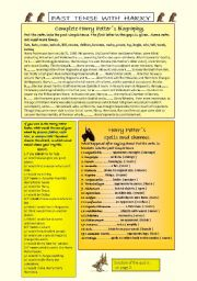 English Worksheets: Simple past tense in Harry Potter�s biography, spells and quiz