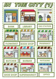 English Worksheets: IN THE CITY PICTIONARY (1)