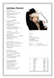 English Worksheets: LISTENING: Lady Gaga - Paparazzi