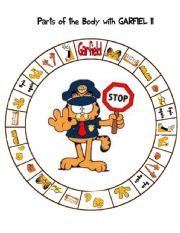 English Worksheet: Parts of the body with Garfield- Spin game II-Spelling