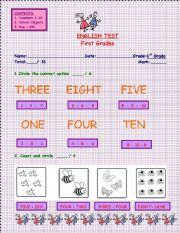 English Test - First Grades - 4 Pages: Numbers - School Objects - Boy/Girl