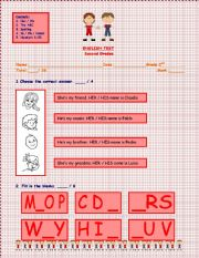 English worksheet: English Test, 3 Pages: Use of Her/ His - The ABC - Spelling - Furnitures - In/On/Under - Numbers 1/20