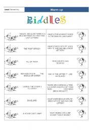 English Worksheets: Warm-up_Riddles