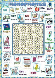 English Worksheet: Homophones - WORDSEARCH *B&W included*