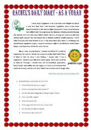 English Worksheet: DIARY OF A VEGAN
