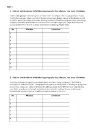 English Worksheets: Writing practice and finding misspelt words