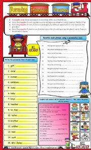 English Worksheet: Possessive Nouns * Editable