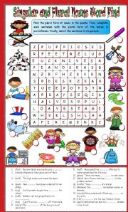English Worksheets: Singular and Plural Nouns Word Find and Sentence Completion