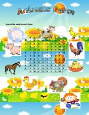 English Worksheets: Animals  Farm Word Search