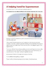 English Worksheet: Suitable for HKDSE School-based assessment (SBA) - print-fiction (a short fiction for practice). A helping hand for Superwoman (written by a girl aged 14)