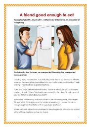 English Worksheet: Suitable for HKDSE School-based assessment (SBA) - print-fiction (a short fiction for practice). A friend is good enough to eat, written by a girl aged 17