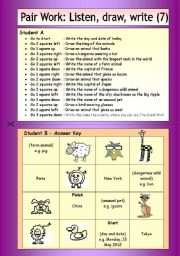 English Worksheets: Pair Work: Listen, draw, write (7)