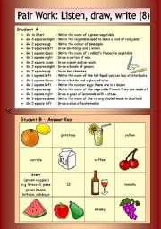 English Worksheets: Pair Work: Listen, draw, write (8)