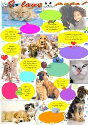 English Worksheet: I love pets!