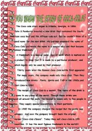 English Worksheet: DO YOU KNOW THE STORY OF COCA-COLA?
