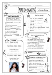 English Worksheets: LCP - Who Says (Selena Gomez)
