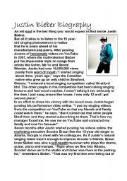 English Worksheet: Justin Bieber Biography