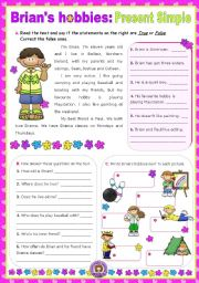 English Worksheet: Brian�s Hobbies  -  Reading + Writing
