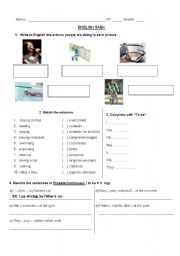 English worksheet: Present continuous task