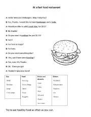 English Worksheet: Eating Junk food