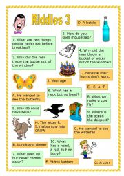 English Worksheets: Riddles 3