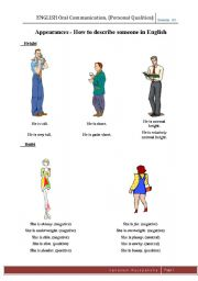 English Worksheets: Describe appearance of a person tute