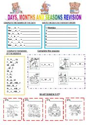 English Worksheet: days, months and seasons revision