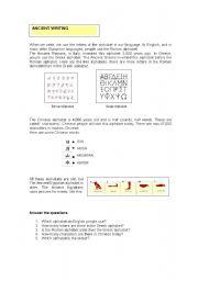 English Worksheets: Ancient writing