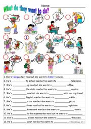 English Worksheets: What do they want to do?: in colour and grayscale with answer key.