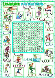 English Worksheet: Leisure Activities - WORDSEARCH (B&W included)
