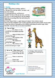 English Worksheets: Reading Text : Visiting a Zoo