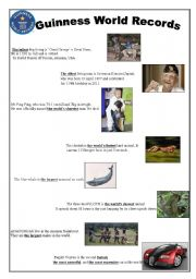 English Worksheet: GUINNESS WORLD RECORDS-USING SUPERLATIVE FORMS