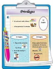 English Worksheets: my privileges in my English class