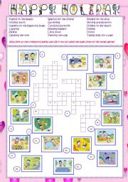 English Worksheets: Happy Holiday - Crossword