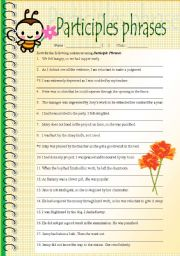 English Worksheet: Rewrite sentences in participle phrases