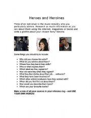 English Worksheet: Heroes and heroines profile