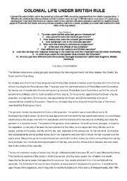 English Worksheets: Colonial Life