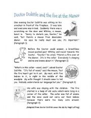 English Worksheets: Dr Dolittle and the fire at the Manor
