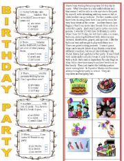 English Worksheet: Birthday Party- two pages