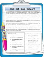 English Worksheet: The fast food fashion! Reading and speaking lesson