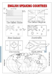 English Exercises Flags And Countries Speaking Countries Flags Coloring Pages