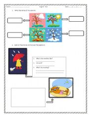 English Worksheet: Seasons, clothes and weather