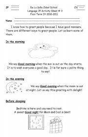 English Worksheets: Simple Greetings