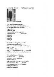 English Worksheets: Leonard Cohen: Hallelujah