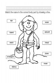English Worksheets: Identifying Body Parts