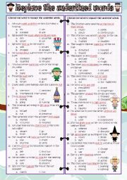 English Worksheets: Replaced the underlined words with other words (key included)